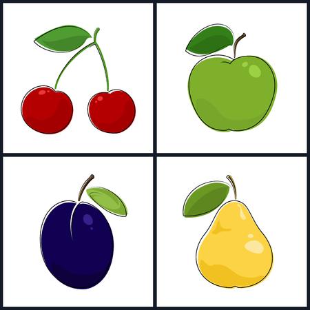 fruitage: Cherry, Apple, Plum, Pear , Isolated on White Background , Set of Fruit Icons , Vector Illustration