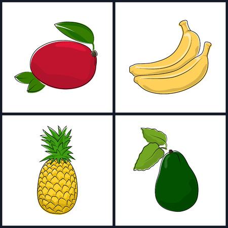 fruitage: Mango, Banana,Pineapple,Avocado , Isolated on White Background , Set of Fruit Icons , Vector Illustration