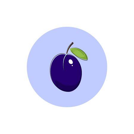 ripened: Plum, Icon Colorful Plum, Fruit Icon, Vector Illustration