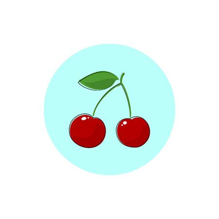 cereza: Cherry, Icono colorido de la cereza o cerezas, Icono de la fruta, Prunus avium, cerezo silvestre, cereza dulce, cereza de pájaro o Gean, ilustración vectorial