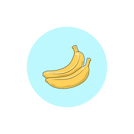 honeyed: Banana,Round Icon Colorful Banana, Fruit Icon, Vector Illustration Illustration