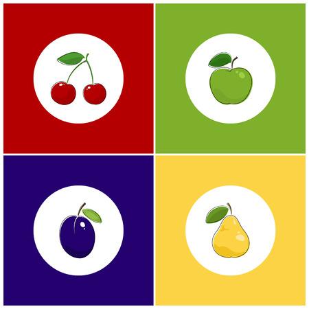 fruitage: Fruit Icons, Round White Fruit Icons on Colorful Background, Cherry Icon, Plum Icon , Pears Icon, Apple Icon, Vector Illustration