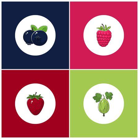 fruitage: Fruit Icons, Round White Berry Icons on Colorful Background, Strawberry Icon, Gooseberry Icon , Raspberries Icon, Blueberries Icon, Vector Illustration