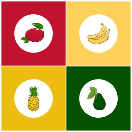 fruitage: Fruit Icons, Round White Fruit Icons on Colorful Background, Mango Icon, Pineapple Icon , Banana Icon, Avocado Icon, Vector Illustration