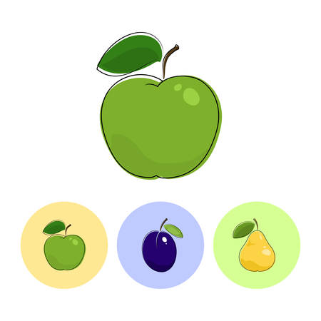 fruitage: Fruit Apple  on White Background , Set of Three Round Colorful Icons  Apple, Plum and Pear, Vector Illustration Illustration