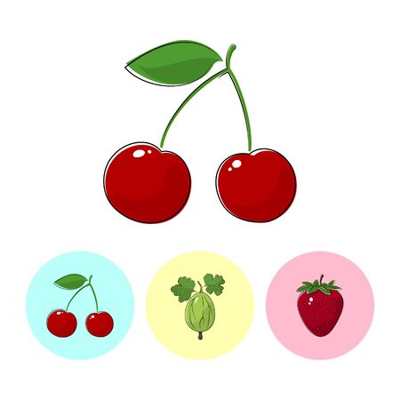fruitage: Fruit Cherry  on White Background , Set of Three Round Colorful Icons  Cherry, Gooseberry and Strawberry, Vector Illustration