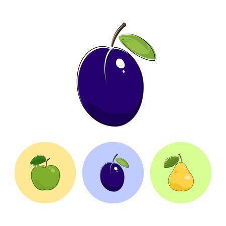 fruitage: Fruit Plum  on White Background , Set of Three Round Colorful Icons  Apple, Plum and Pear, Vector Illustration Illustration