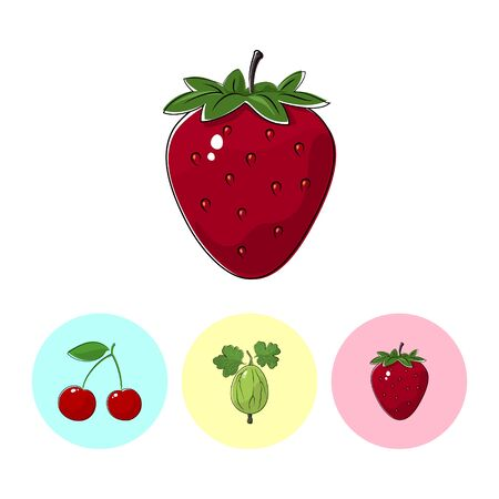 fruitage: Berry Strawberry   on White Background , Set of Three Round Colorful Icons  Cherry, Gooseberry and Strawberry, Vector Illustration