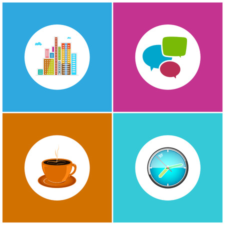 centre d affaires: Set Icons  Office Work and Business Life, Modern Buildings, Business Center,  Speech Bubble , Cup of Tea or  Cup of Coffee, Wall Clock  Illustration