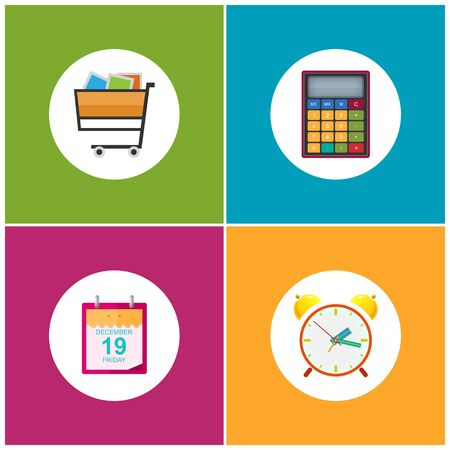 purchases: Set of Shopping Icons , Budgeting , Cart , Basket for Purchases  , Leaf of a Calendar, Calculator, Alarm Clock