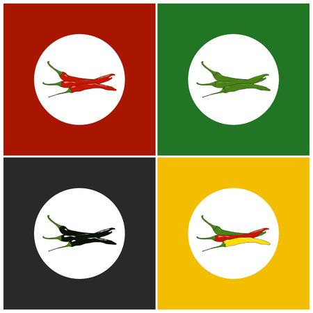 Set of Icons Hot Chili Pepper   , Set of Vegetables Icons, Icon Red Hot Chili Pepper, Red and Green and Yellow Hot Chili Pepper,Icon  Pasilla Chile.