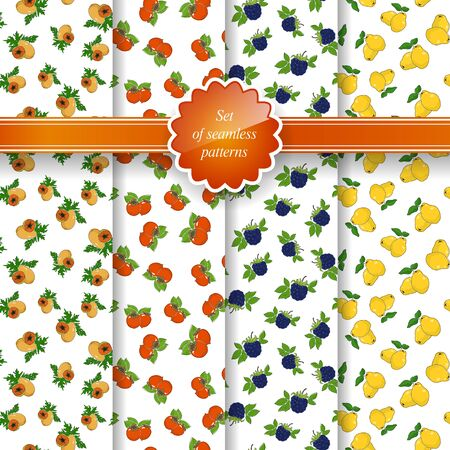 quince: Set of Seamless Pattern of Fruit, Fruit Background, Papaya , Orange Persimmon, Blackberry, Yellow Quince