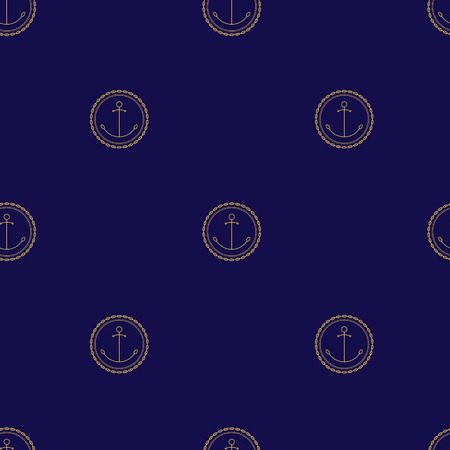 moor: Seamless Pattern with Golden Anchor on a Navy Background ,  Illustration