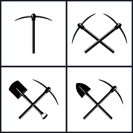 Set  of Tools for Excavation, Isolated, Two Crossed Pickaxes, Crossed Shovel and Pickaxe,  Pickaxe or Pick,