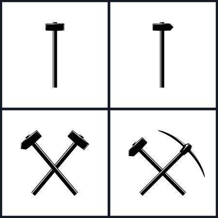 axe: Set  of Tools for Percussion Works, Isolated, Sledgehammer or Hammer, Claw Hammer, Crossed Hammer and Sledgehammer, Crossed Pickaxe and Sledgehammer, Hand Tool with a Hard Head,  Vector Illustration