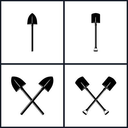 excavation: Set  of Tools for Excavation, Isolated, Shovel, Two  Crossed Shovels, Black and White Vector Illustration