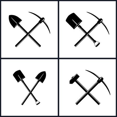 Set di strumenti per Scavi e lavori per percussioni, Isolamento, due pale incrociate, attraversato Pala e Piccone, incrociate Piccone e Sledgehammer, industria mineraria, costruzione, illustrazione vettoriale Vettoriali