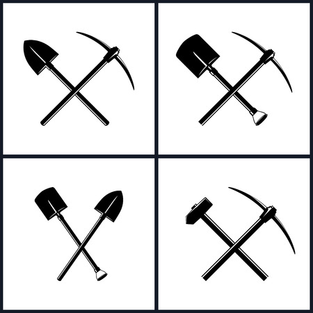 Set  of Tools for Excavation and for Percussion Works, Isolated, Two Crossed Shovels, Crossed Shovel and Pickaxe,Crossed Pickaxe and Sledgehammer,  Mining Industry, Construction, Vector Illustration