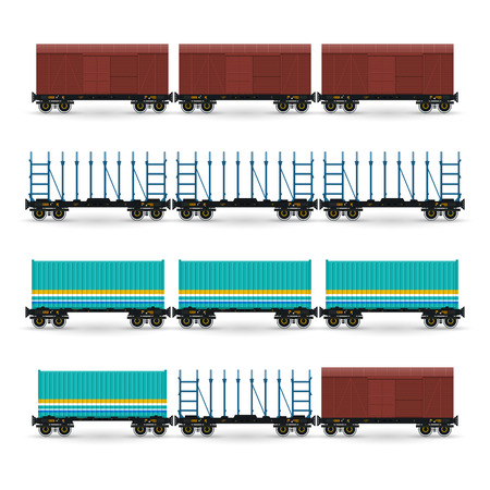 wagon: Set of Different Types of Freight Wagon, Isolated, Covered Freight Car, Container Platform , Platforms for Timber Transportation, for Transportation of Cars,  Long Cargo, Vector Illustration Illustration