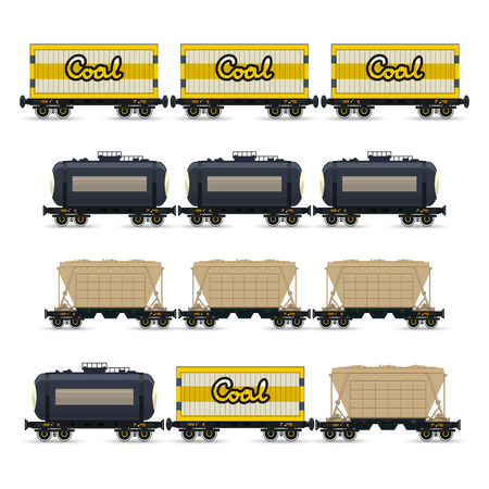 hopper: Set of Different Types of Freight Wagon, Isolated,  Railway Car the Tank, Railway Wagon, Hopper Car for Mass Transit Bulk Cargo, Railway Wagon for Coal or Sand  , Vector Illustration Illustration