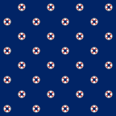 Seamless Pattern with Lifebuoy on a Blue Background , Seamless Pattern with Marine Element for Web Design or Wallpaper or Fabric, Vector Illustration Çizim