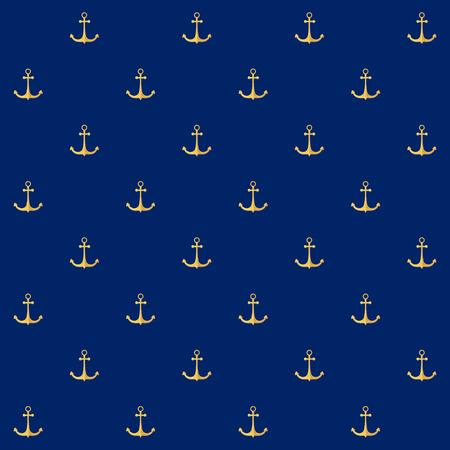 ancla: Patr�n sin fisuras con el ancla en un fondo azul, Modelo incons�til con Elemento Marinas en Dise�o Web o papel tapiz o tela, ilustraci�n vectorial