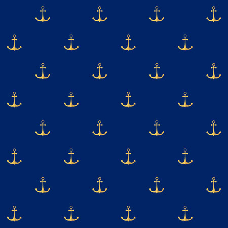 anchored: Seamless Pattern with  Anchor on a Blue Background , Seamless Pattern with Marine Element for Web Design or Wallpaper or Fabric, Vector Illustration