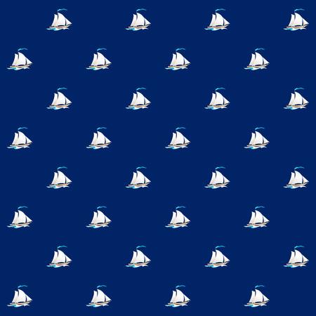 sailing vessel: Patr�n sin fisuras con el buque de vela, velero en un fondo azul, Modelo incons�til con Elemento Marinas en Dise�o Web o papel tapiz o tela, ilustraci�n vectorial Vectores