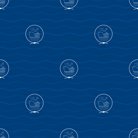 water carrier: Seamless Pattern with a Cargo Ship Emblem on a Background of Waves,a Barge in the Middle of a Rope on a Blue Background , Seamless Pattern with Marine Element for Web Design or Wallpaper or Fabric