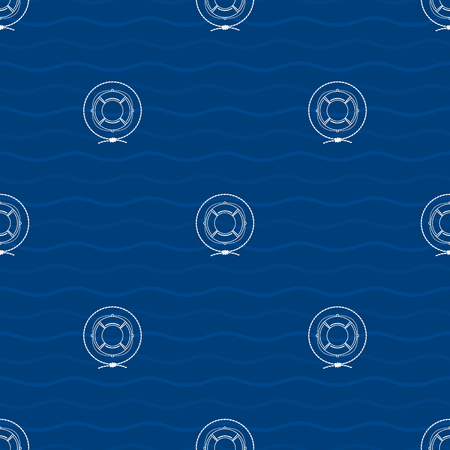 lifeline: Seamless Pattern with a Lifebuoy   on a Background of Waves, a Lifeline  in the Middle of a Rope on a Blue Background , Seamless Pattern with Marine Element for Web Design or Wallpaper or Fabric