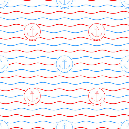 anchored: Seamless Pattern with Anchor Emblem, Blue and Red Anchor on a Background of Red and Blue Waves, Seamless Pattern with Marine Element for Web Design or Wallpaper or Fabric, Vector Illustration