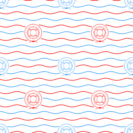 lifeline: Seamless Pattern with Lifebuoy Emblem, Blue and Red  Lifeline  on a Background of Red and Blue Waves,Seamless Pattern with Marine Element for Web Design or Wallpaper or Fabric, Vector Illustration