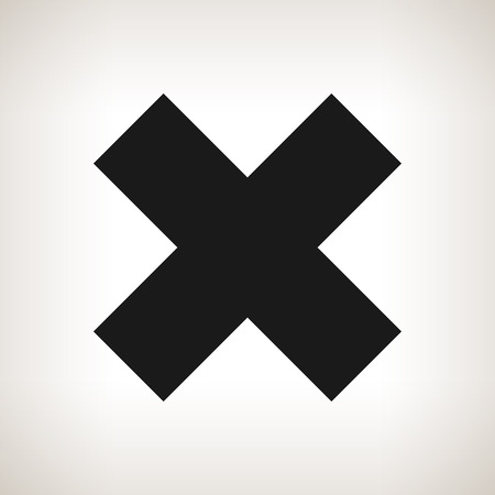 denial: Delete sign, Crosswise Sign on a Light Background, X Sign, a Sign of Denial, to Indicate Failure or Removal or Impossibility to Act , Black and White Vector Illustration