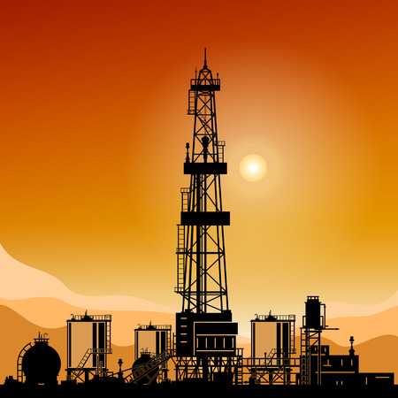 Silhouette Oil or Natural Gas Drilling Rigs on a Background of Mountains at Sunset,Silhouette Drilling Platform with Outbuildings and Tanks and Cisterns , Vector Illustration Ilustração