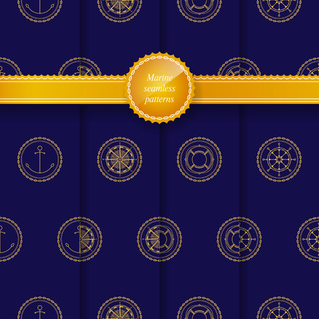 rose: Set of Seamless Patterns with Marine Element on a Navy Background for Web Design or Wallpaper or Fabric, Golden Anchor , Compass Rose, Lifebuoy, Ships Wheel , Vector Illustration