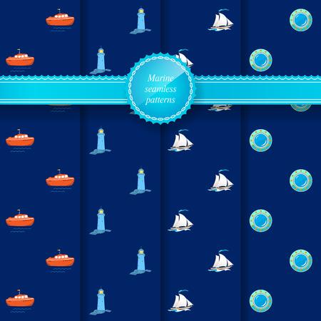 sailing vessel: Set of Marine Seamless Patterns  for Web Design or Wallpaper or Fabric, Boat, Lighthouse, Sailing Vessel, Porthole, Vector Illustration