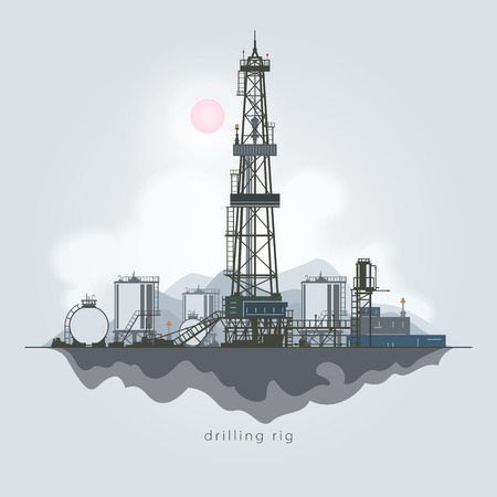 borehole: Drilling Rig in the Background of Mountains, Oil Rig, Oil Well Drilling, Oil or Natural Gas Drilling Rigs with Outbuildings and Tanks and Cisterns , Vector Illustration Illustration