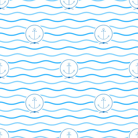 mooring anchor: Seamless Pattern with Anchor Emblem, Blue  Anchor in the Middle of a Rope  on a Background of  Blue Waves, Seamless Pattern with Marine Element for Web Design or Wallpaper or Fabric, Vector
