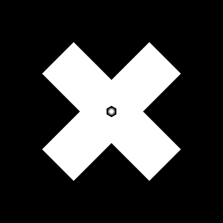 crosswise: Delete sign, White Crosswise Sign with a Fasteners Hex Nut on a Black Background, X Sign, a Sign of Denial, to Indicate Failure or Removal or Impossibility to Act , Black and White Vector Illustration Illustration