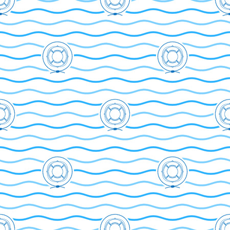 lifeline: Seamless Pattern with Lifebuoy  Emblem, Blue   Lifeline  in the Middle of a Rope  on a Background of  Blue Waves, Seamless Pattern with Marine Element for Web Design or Wallpaper or Fabric, Vector