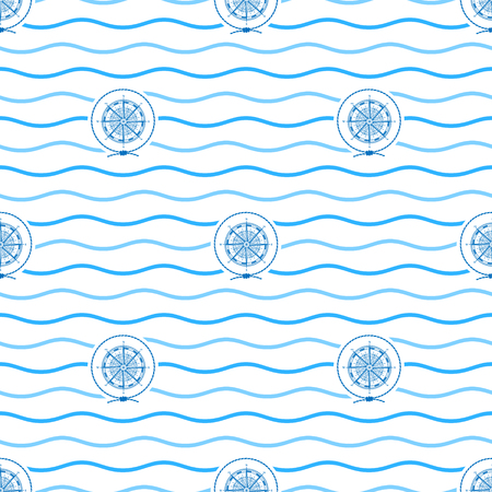 blue wind: Seamless Pattern with Compass Rose  Emblem, Blue  Wind Rose  in the Middle of a Rope  on a Background of  Blue Waves, Seamless Pattern with Marine Element for Web Design or Wallpaper or Fabric Illustration