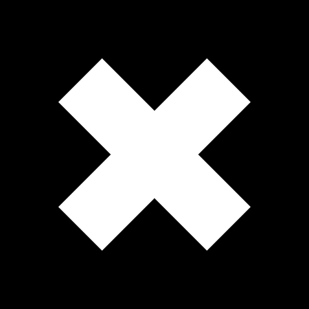 denial: Delete sign, White Crosswise Sign  on a Black Background, X Sign, a Sign of Denial, to Indicate Failure or Removal or Impossibility to Act , Black and White Vector Illustration