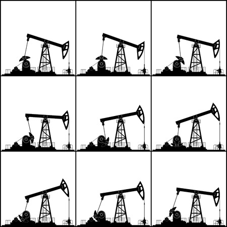 oilwell: Silhouette Pumpjack or Oil Pump, Different Positions Working Oil Pumps, Isolated, Black and White Vector Illustration