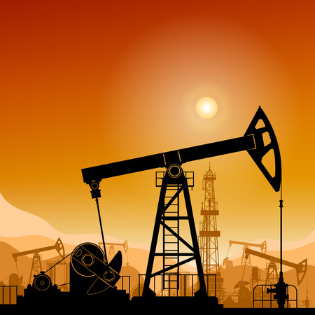 oilwell: Silhouette  Pumpjack or Oil Pump on a Background of Mountains  at Sunset, Petroleum Industry , in the Background Working Oil Pumps and Drilling Rig, Vector Illustration Illustration