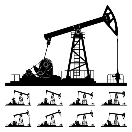 oilwell: Silhouette Pumpjack or Oil Pump Isolated, Nine Different Positions Working Oil Pumps, Black and White Vector Illustration Illustration