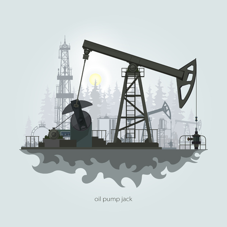 oilwell: Pumpjack in the Background of Fir Trees and Working Oil Pumps and Drilling Rig, Oil Pump, Petroleum Industry , Vector Illustration Illustration