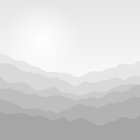 Mountain Landscape , the Silhouette of the Mountains  at Sunrise, View of the Mountains  in the Morning, Mountain Ranges in Shades of Gray,Misty Mountains, Waves,  Vector Illustration