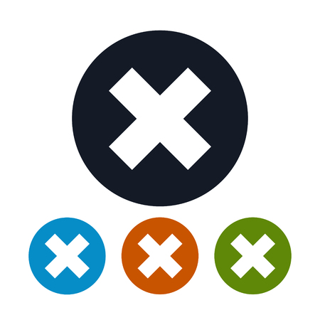 denial: Icon Delete sign, Icon X Sign, the Four Types of Colorful Round Icons of Denial, to Indicate Failure or Removal or Impossibility to Act , Vector Illustration Illustration