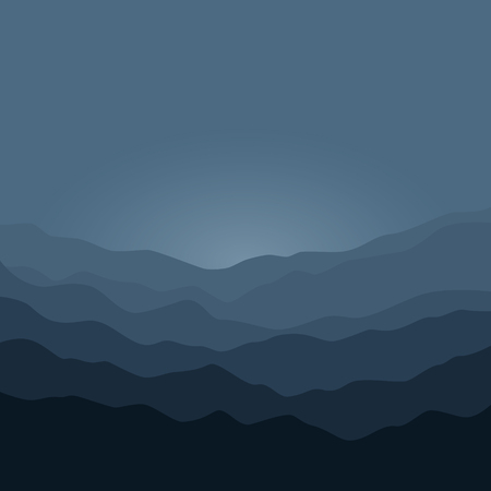 early in the evening: Mountain Landscape , the Silhouette of the Mountains  Before  Sunrise, View of the Mountains  in the Morning,  Mountain Ranges in Shades of Dark Gray, Misty Mountains, Waves,  Vector Illustration