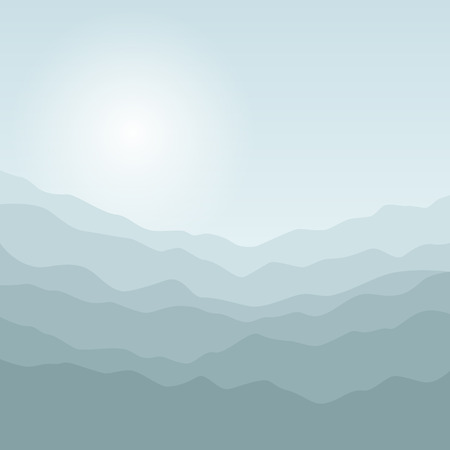 smoky mountains: Mountain Landscape, the Silhouette of the Mountains  at Sunrise, View of the Mountains  in the Morning, Mountain Ranges in Shades of Green, Waves,  Vector Illustration Illustration